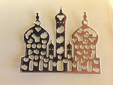 "Cardmaking  Die Cuts ""Temples"" Silver Mirror Card Qty 10 - 6.4cms x 5.3cms"