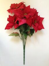 New Microfiber Red Poinsettia Tall Bouquet Holidays Flower Home Office Decor