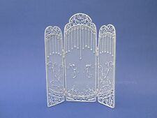 Miniature Dollhouse 3 Sided White Wire Floor Screen 1:12 Scale New