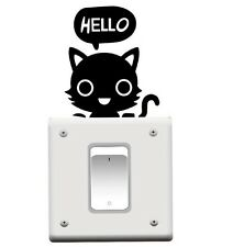 CAT HELLO LIGHT SWITCH WALL DECAL MULT PART STICKER (BRAND NEW)
