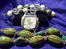 Narami  Watch with 2 Bands **Tan and Jade Color Stone & White Acrylic** ME 034