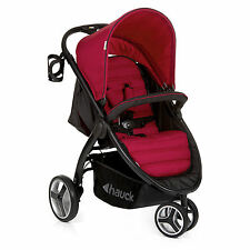 NEW HAUCK CHILLI RED LIFT UP EASY FOLDING 3 WHEEL PUSHCHAIR BUGGY PRAM+RAINCOVER