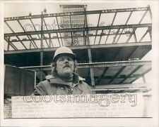 1973 Hartford CT Construction Dad Wishes Son Happy Bday Steel Beams Press Photo