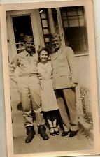 Old Vintage Antique Photograph Woman With Two Military Men In Uniforms