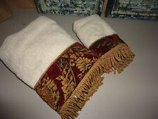 CROSCILL IMPERIAL EMPRESS RED BLACK FLEUR FRINGED (2PC) BATH & HAND TOWELS