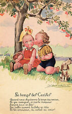 Vintage Postcard Two Cute Childen under a Cherry Tree Le temps des Cerises (A2)