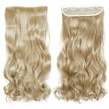 "17""Cheap Ash blonde Real Thick Full Head Clip In Hair Extensions Long Curly Wavy"