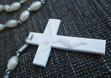 White ROSARY BEADS Vintage Plastic and White Beads Silver Coiled Chain links