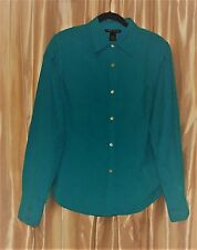 Silk. Turquoise-blue Large L dressy blouse long sleeve washable Anne Carson