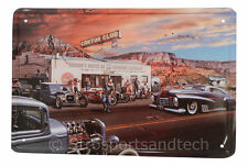 Route 66 Gas Tin Sign Bar Cafe Diner Garage Wall Decor Retro Metal Art Poster