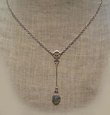 ANTIQUED SILVER FILIGREE AB FROSTED CRYSTAL PENDULUM NECKLACE EDWARDIAN DECO