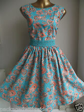 MONSOON CLARISSA GREEN ORANGE FLORAL 50'S VINTAGE SUMMER WEDDING PROM DRESS 14