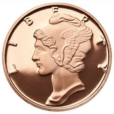 1 oz Mercury Dime Copper Round .999 Fine Copper Bullion