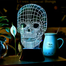 Skull 3D Illusion Bulbing Light Acrylic LED Light Micro Table Desk USB Lamp 2016