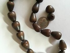 "12"" (20) Vtg Handmade Philippines Smoky Brown 18X12mm Teardrop Natural Wood Bead"