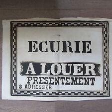 AFFICHE ANCIENNE 1810 ECURIE A LOUER MAISON IMMOBILIER IMPRIMERIE