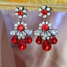 Boucles d`Oreilles Clips Pendante Fleur Rouge Retro Style Original Cadeau A3