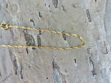 "10 KT Yellow Gold Singapore Link Style Bracelet 9"" or Anklet Thin Lightweight"