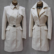 Karen Millen Tailored Ivory Stretch Cotton Long Posh Mac Trench Coat Jacket 8 UK
