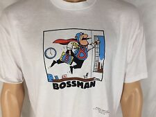 Vtg Bossman Super Hero T-Shirt XL White Hallmark Shoebox Greetings Kevin Ahern