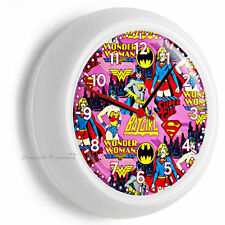 BATGIRL SUPER HERO GIRL WONDER WOMAN  WALL CLOCK PINK BEDROOM HOME ROOM DECOR