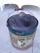 Vintage 5 Gallon Metal Bulk Oil Can with all Screw on Caps Missing Label