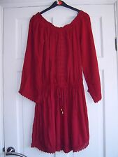 PRIMARK ~ Stunning Burgandy Off The Shoulder / Lace Gypsy Dress Size 14 new