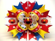 """Sesame Street ELMO Handmade Boutique Stacked Hair Bow Large 6.0"""" x 5.5"""""""