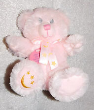 "NEW Applause 6"" Seated Pink Plush Teddy Bear Embroidered Gold Stars Moon Ribbon"