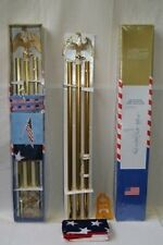 "6' Flag Pole- Eagle Top 6ft Gold Flag Kit Diam 3/4"" Eagle steel bracket w/ Flag"