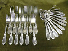 12 couverts à de table métal argenté rocaille PM (dinner forks soup spoons)