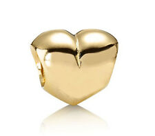New PANDORA Smooth Heart Silver Charm 24K Heavy Gold Plated 790137 Authentic