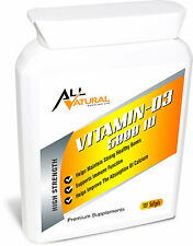Entièrement Naturel Vitamine D 3 5000iu Très Fort Cholécalciférol Gélatine