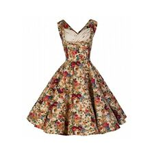 Lindy Bop Ophelia Vintage 1950's Floral Beige Spring Garden Party Picnic Dress