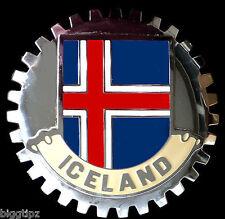 ICELAND FLAG CAR GRILLE BADGE CHROME EMBLEM