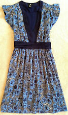 H&M WOMENS BABY BLUE FLORAL CHIFFON BABYDOLL SUN DRESS NWOT! 4