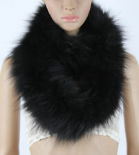 Women Real Fox Fur Scarf Shawl Collar Cape Wrap Long Scarf Winter Scarves Black