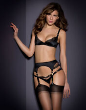 AGENT PROVOCATEUR BLACK KAREN BRA 32D 34C 36D & 3 MED SUSPENDER & OUVERT BRIEF