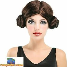 SCI-FI SPACE PRINCESS LEIA STAR WARS WIG Womens Ladies Fancy Dress Costume