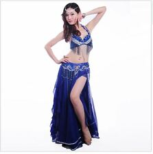 Belly Dance Costume Set 3 Pcs (bra+skirt+belt) Suit handmade beads and sequins