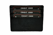 SINGLE PIECE BLACK CREDIT CARD HOLDER WITH MIDDLE POCKET GENUINE LEATHER