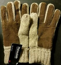 THINSULATE 40G Women's Tan Wool/Leather Knit Winter Wrist Gloves NWT (M, LG, XL)