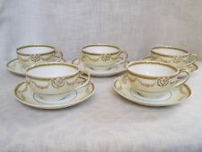 Antique Theodore Haviland Limoges Pink Rose Swags Cups Saucers Set of 5