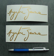 2x stickers Auto Signature Ayrton Senna Or/Gold 14cm B12-930