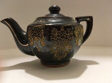 Vintage Handpainted Redware Tea Pot w Lid Brown Glaze ~ Japan