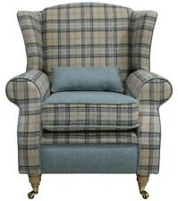 Arnold Fireside High Back Wing Armchair Wool Plaid Bamburgh Earth Eau De Nil