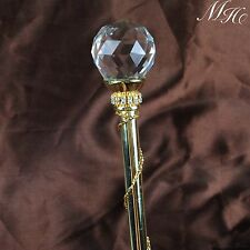 Gold Pageant Scepter Clear Crystal Magic Fairy Wand Wedding Bridal Party Costume