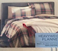 NEW Cuddl Duds FULL Flannel Sheet Set HOLIDAY PLAID Year Rnd Too Navy Green Tan
