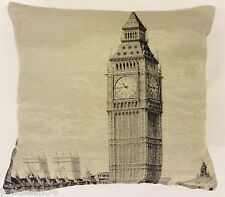 "STUNNING BIG BEN LONDON ENGLAND TAPESTRY SILVER COTTON THICK 18"" CUSHION COVER"