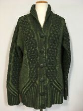 ARAN CRAFTS Ireland Sz Small 100% Wool Green Cable Knit Cardigan Sweater Women's